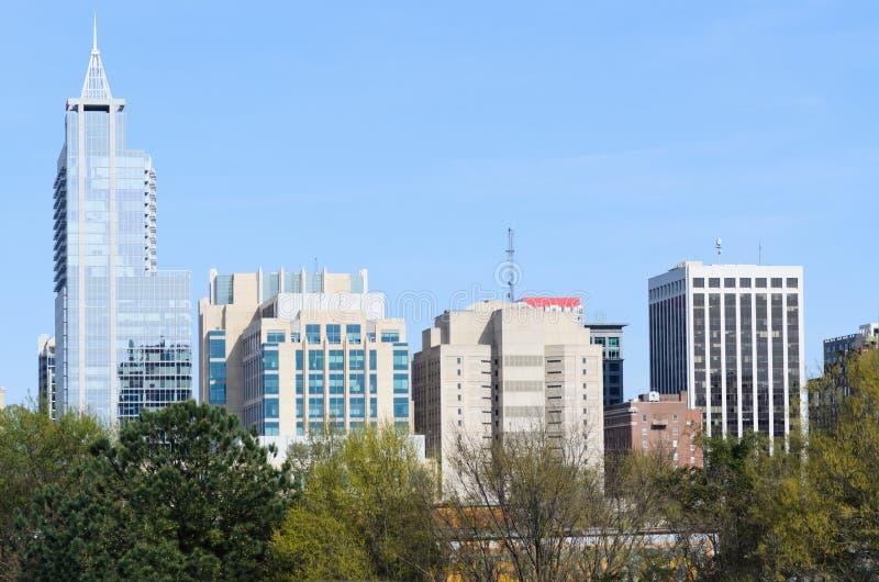Ansicht über im Stadtzentrum gelegenes Raleigh, NC stockfotografie