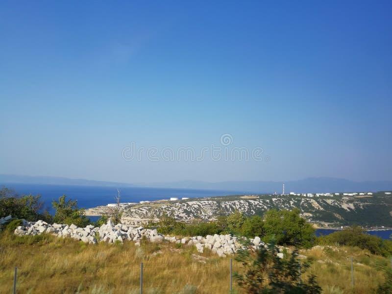 Ansicht über Insel Krk stockfotos
