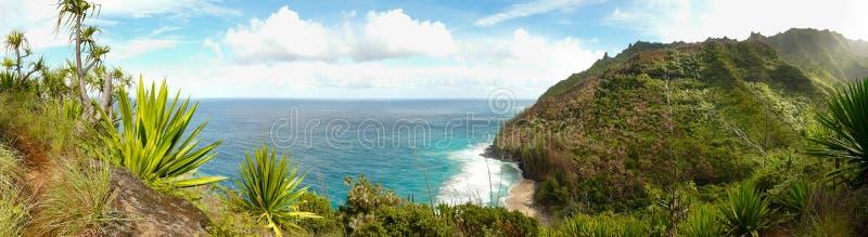 Ansicht über Küste Na-Pali von der Kalalau Spur. stockfotografie