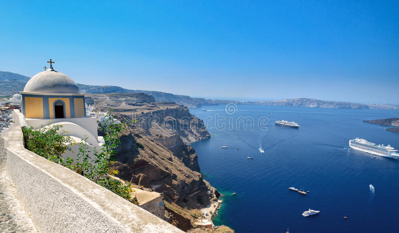 Ansicht über Kessel Des Santorini-Inselvulkans, Griechenland ...