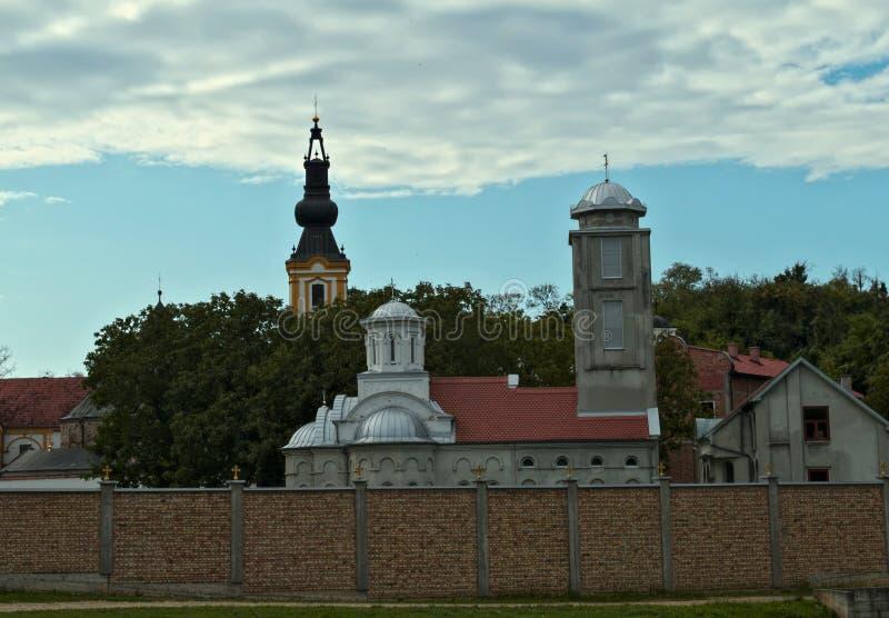 Ansicht über Kloster komplexes Privina Glava, SID, Serbien stockfotografie