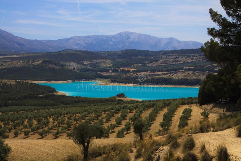Ansicht über ländliches Tal mit Olivenhainen, Erntefelder und blaues Rückhaltebecken Bermejales mit Gebirgszug im Horizont stockbild