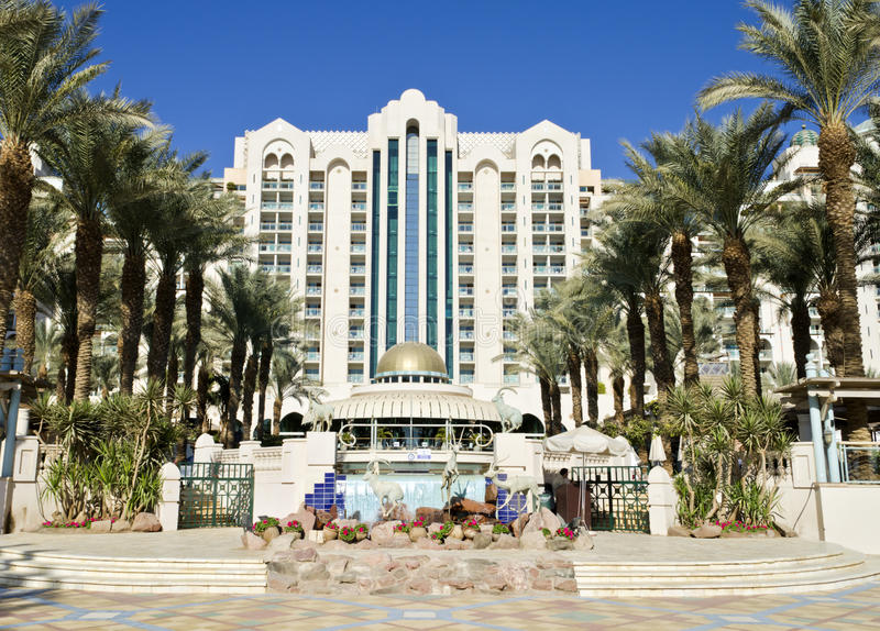 Ansicht über moderne Rücksortierunghotels von Eilat, Israel lizenzfreie stockfotografie
