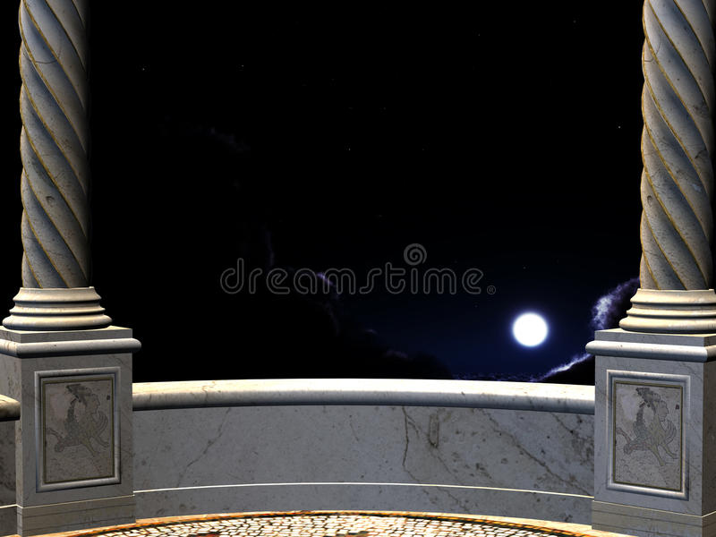 Ansicht über Nacht von einem Balkon stock abbildung