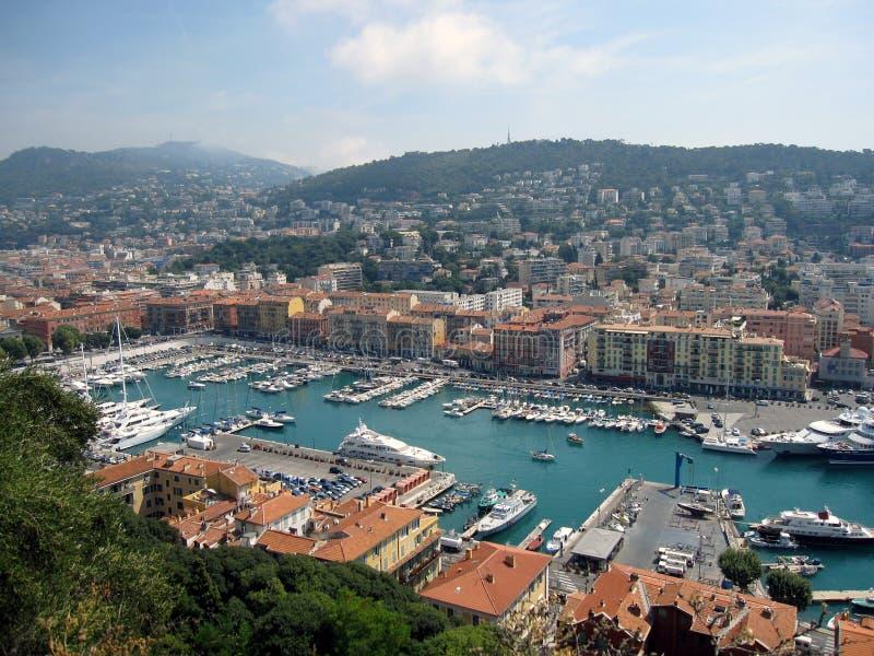 Ansicht über Nizza Hafen lizenzfreies stockbild
