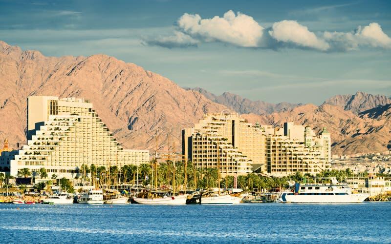 Ansicht über Rücksortierunghotels von Eilat stockbilder