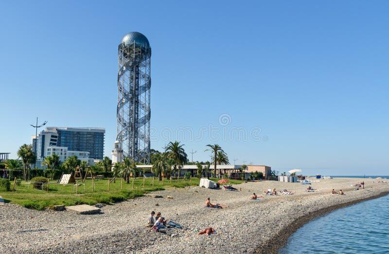 Ansicht über Schwarzes Meer Pebble Beach lizenzfreie stockfotografie