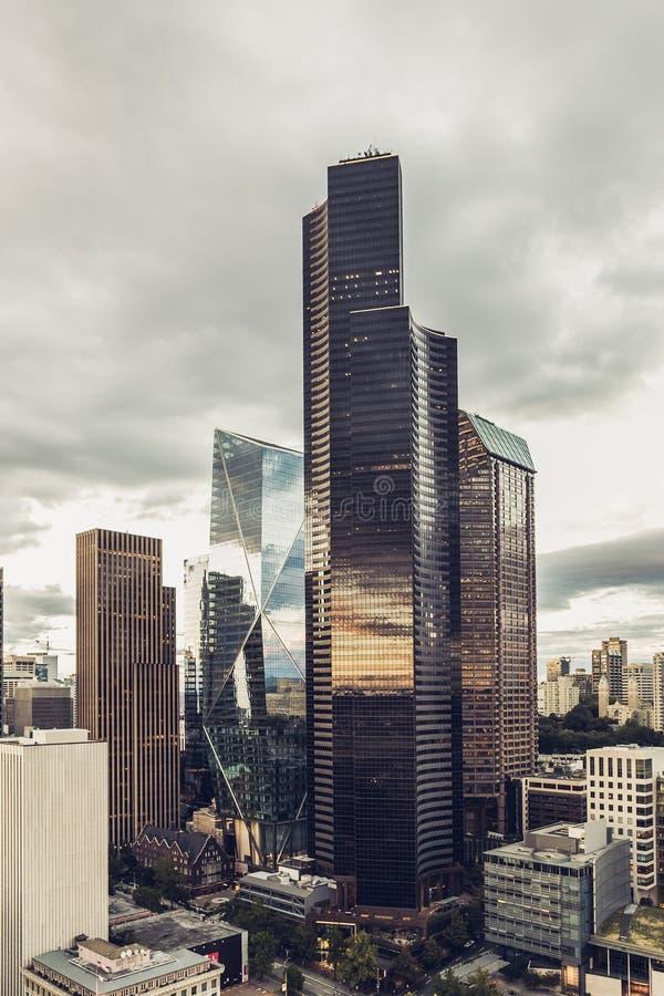 Ansicht über Seattle im Stadtzentrum gelegen von Smith Tower stockbild