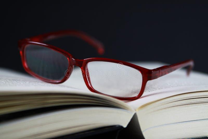 Ansicht über Seiten des offenen Buches mit roter Lesebrille lizenzfreie stockbilder