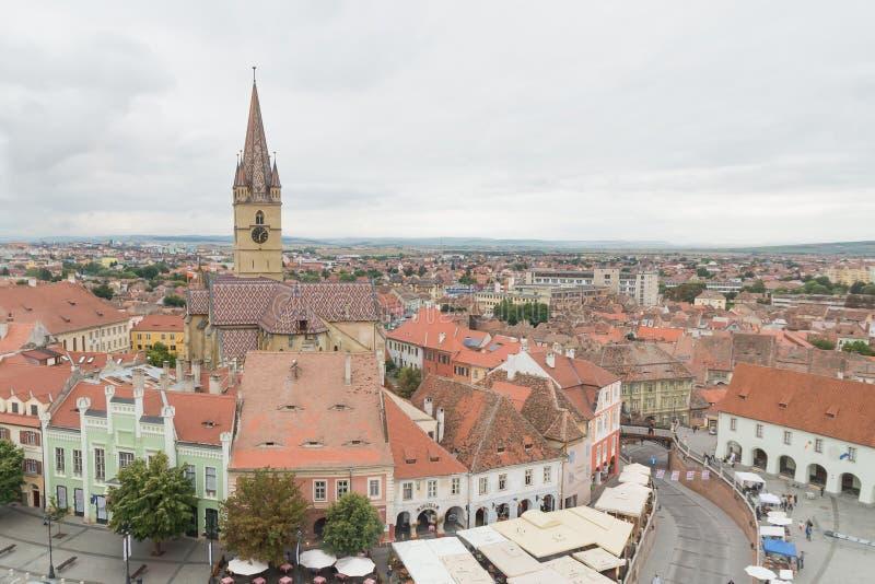 Ansicht über Sibiu-Stadt, Rumänien lizenzfreies stockfoto