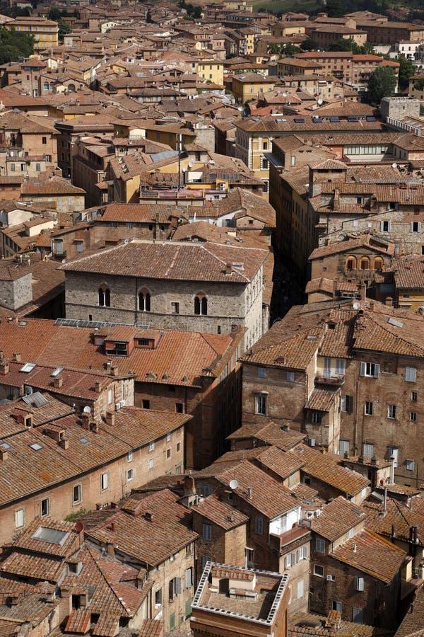 Ansicht über Siena vom Kontrollturm von palazzo pubblico stockbild