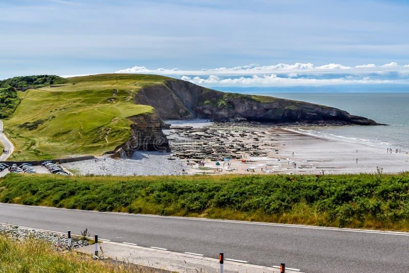 Ansicht über Southerndown, Glamorgan-Küstenlinie lizenzfreie stockfotografie