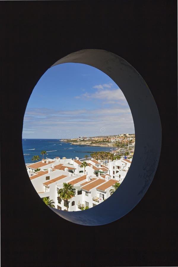 Ansicht über Teneriffa von Costa Adeje stockbild