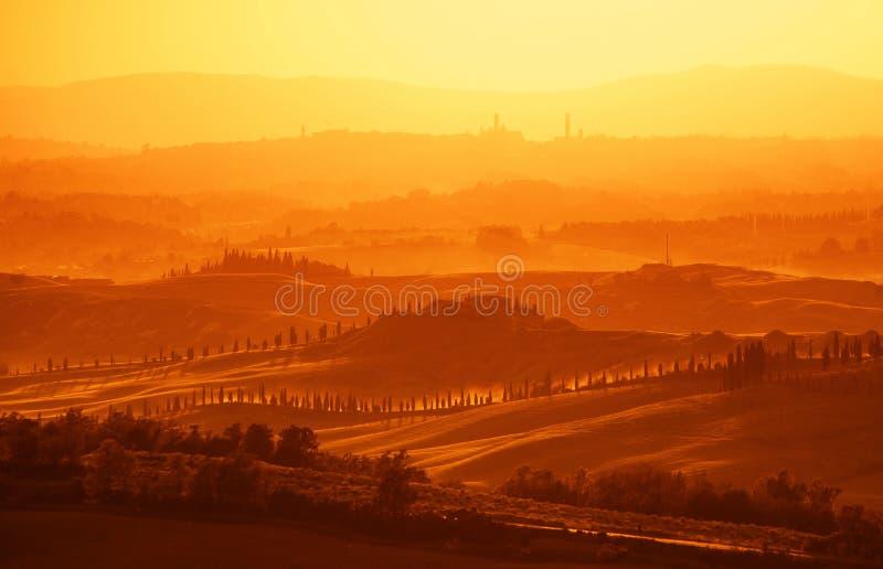 Ansicht über toskanische Hügel stockfoto