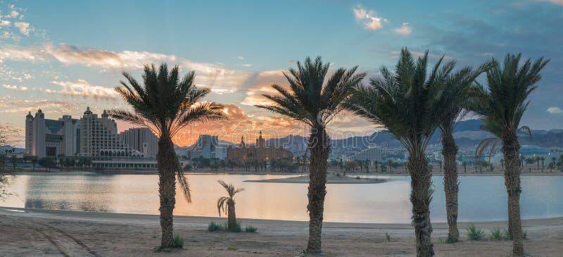 Ansicht über Urlaubshotels von Elat, Israel stockbild