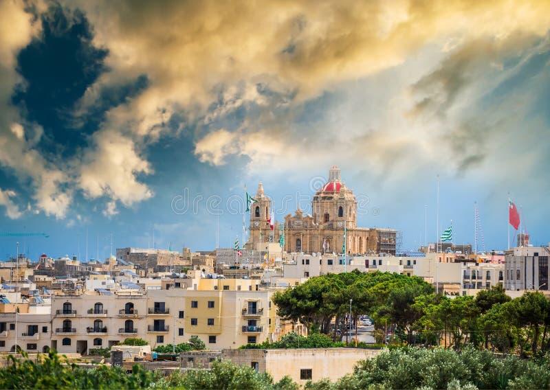 Ansicht über Valletta vom Hoch stockfoto