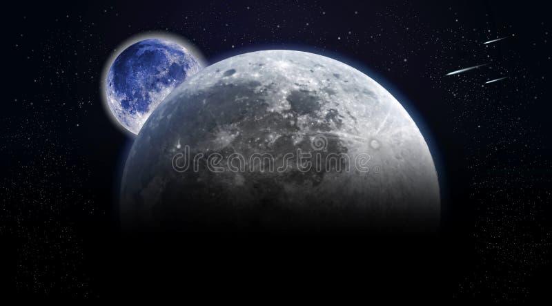 Ansicht aus Raum auf Oberfläche des Mondes und der Erde heraus lizenzfreie stockfotos