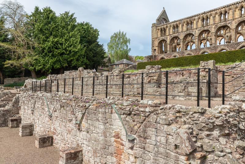 Ansicht an den Ruinen von Jedburgh-Abtei in den schottischen Grenzen stockfotografie
