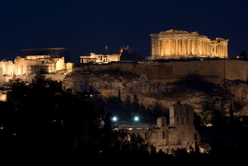 Ansicht der Akropolises und des Parthenons bis zum Nacht lizenzfreie stockbilder