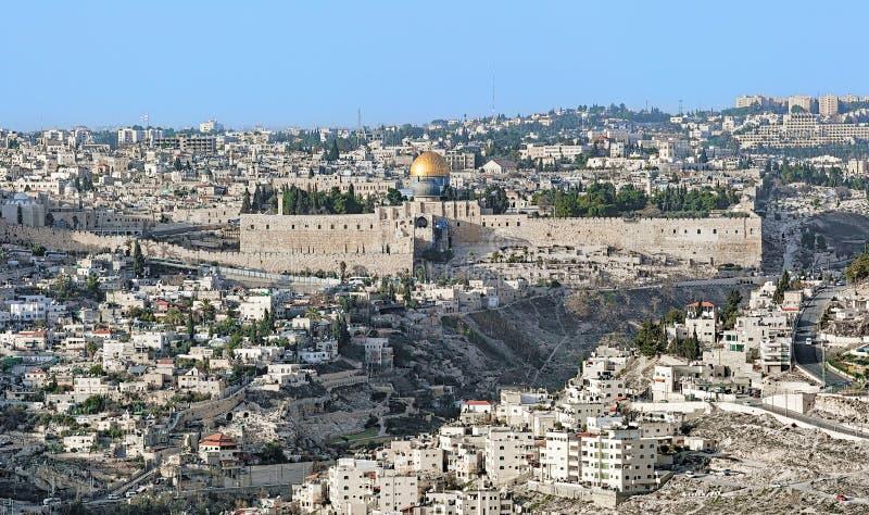 Ansicht der alten Stadt Jerusalems und des Tempelbergs, Israel stockfotos