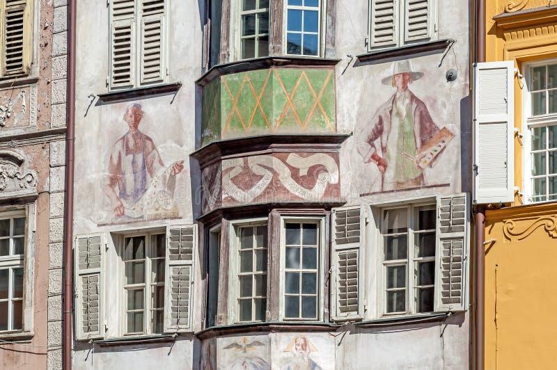 Ansicht der alten Stadt von Bozen in Italien stockbild