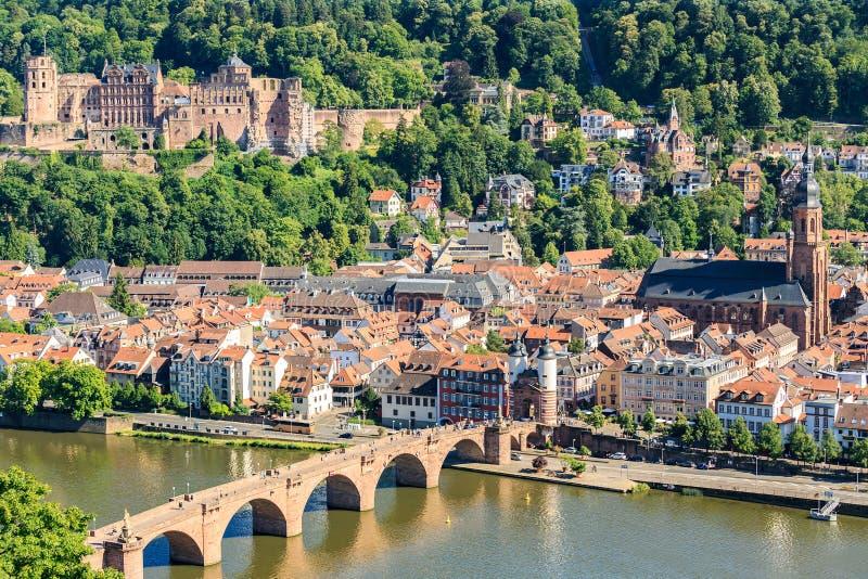 Ansicht der alten Stadt von Heidelberg lizenzfreies stockfoto