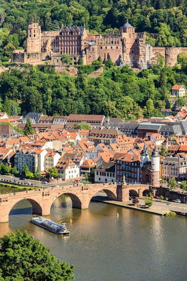 Ansicht der alten Stadt von Heidelberg stockbild