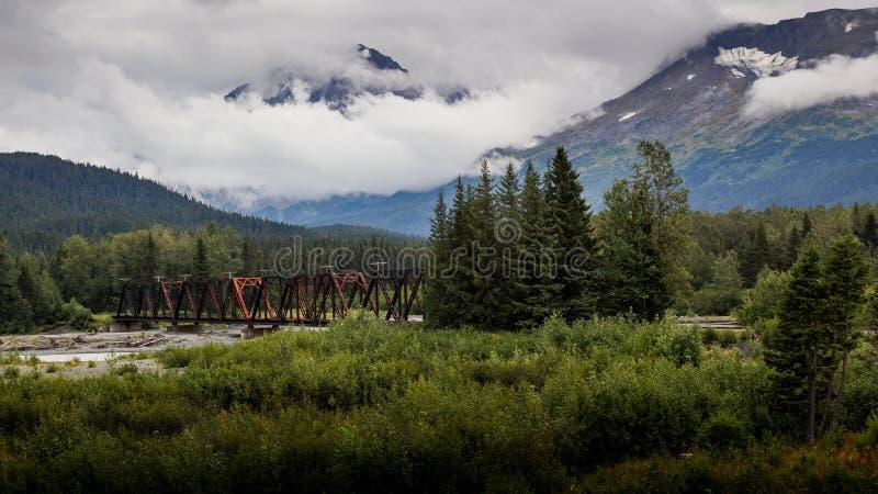 Ansicht der alten verrostenden Brücke in der alaskischen Wildnis lizenzfreies stockfoto