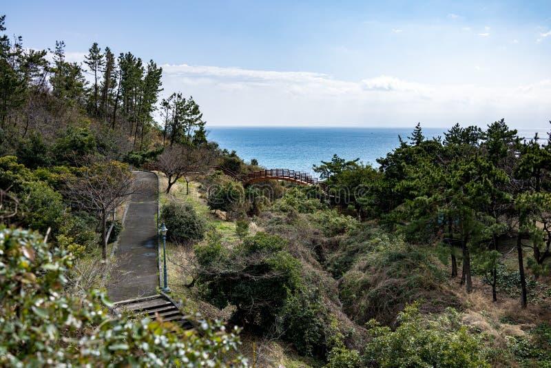 Ansicht der Brücke und des Ozeans von Lotte Hotel Jeju lizenzfreies stockbild