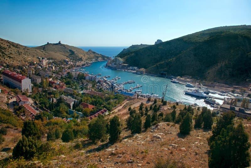Ansicht der Bucht des Kopfschutzes Sewastopol, Krim stockfoto