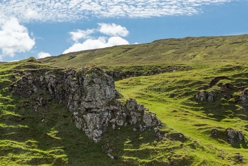 Ansicht der Fee Glenn, auf Insel von Skye, Schottland stockbild