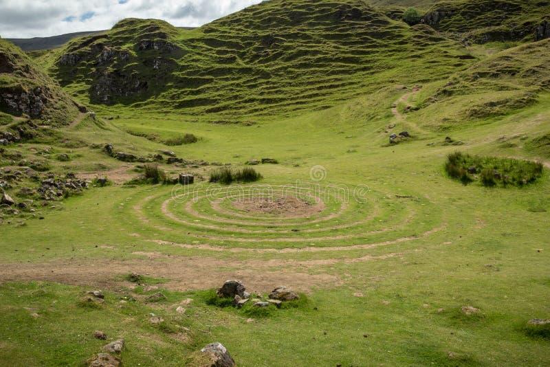 Ansicht der Fee Glenn, auf Insel von Skye, Schottland lizenzfreie stockbilder