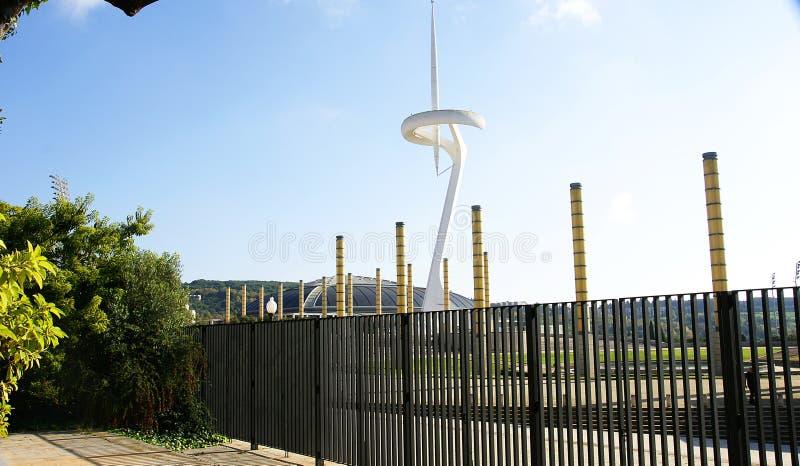 Ansicht der Gärten des olympischen Ringes von Montjuic lizenzfreie stockfotos