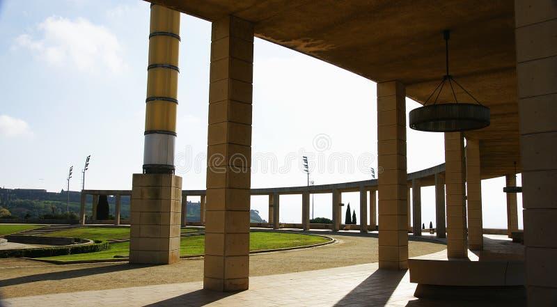 Ansicht der Gärten des olympischen Ringes von Montjuic stockfoto