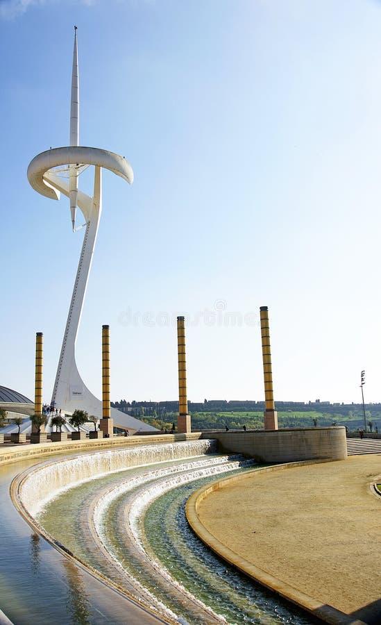 Ansicht der Gärten des olympischen Ringes von Montjuic lizenzfreie stockbilder