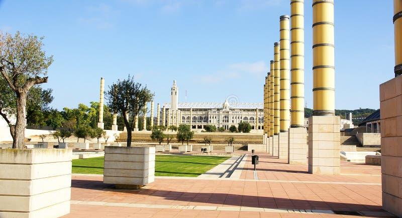 Ansicht der Gärten des olympischen Ringes von Montjuic stockbild