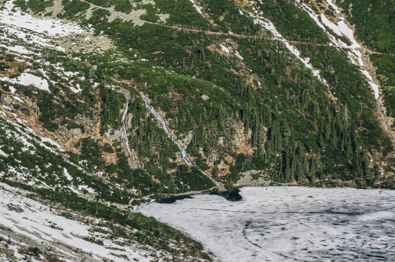 Ansicht der Gebirgsklippe mit Bäumen auf Steigungen und des Sees zu Fuß mit Eis auf Wasseroberfläche, Morskie Oko, Seeauge, Tatra lizenzfreie stockbilder