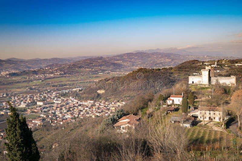 Ansicht der Hügel von Montecchio Maggiore Vicenza, Italien stockfotografie