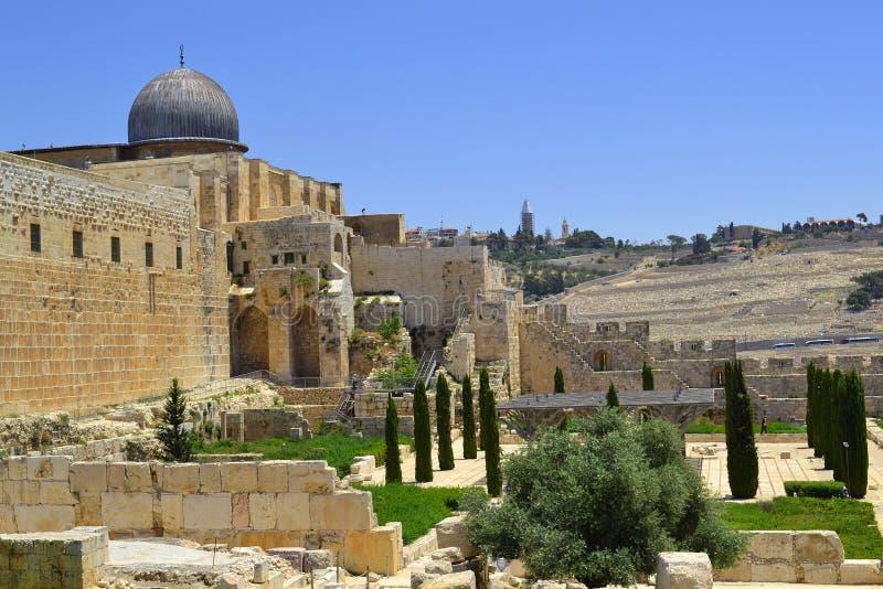Ansicht der Haube der Al--Aqsamoschee in Jerusalem, Israel stockbild