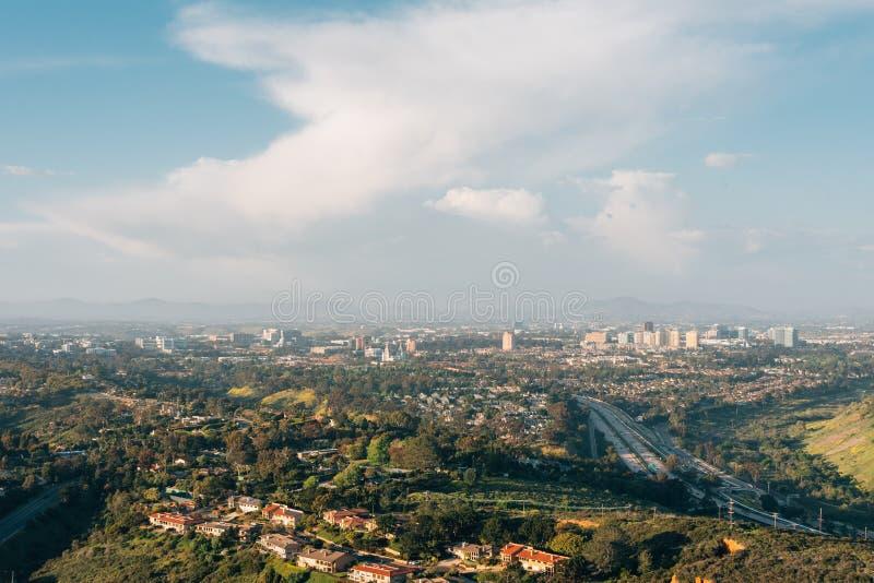 Ansicht der Hochschulstadt, vom Berg Soledad in La Jolla, San Diego, Kalifornien stockbilder