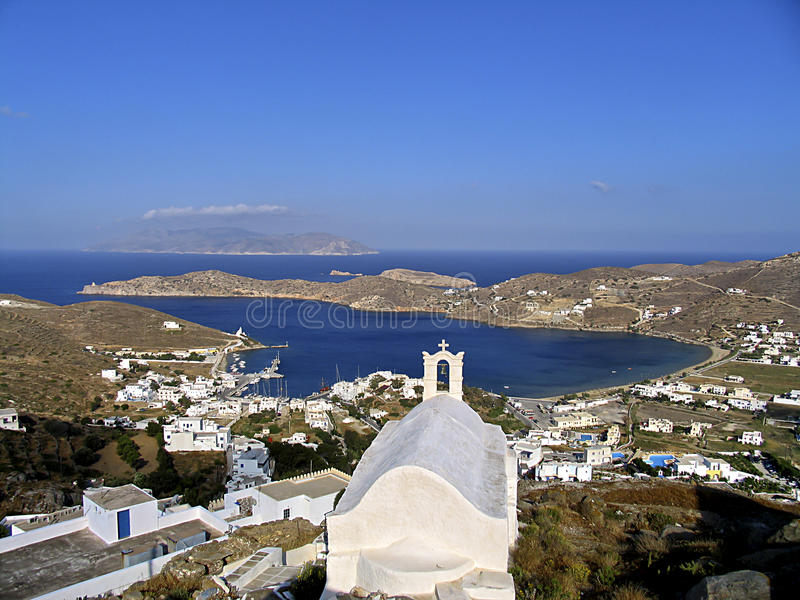 Ansicht der Insel von IOS in Cycladen, stockfotografie