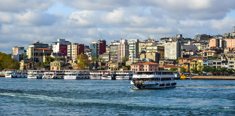 Ansicht der Istanbul-Ufergegend stockfotografie
