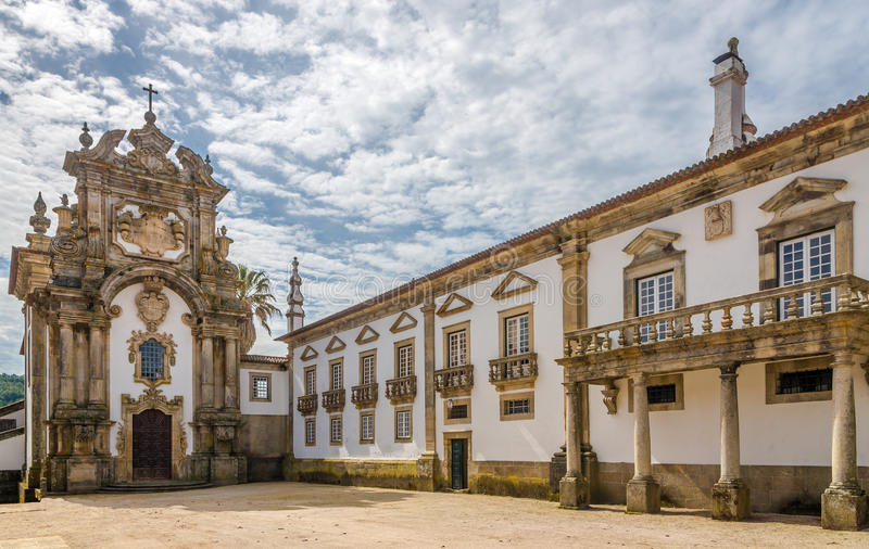 Ansicht an der Kapelle des Palastes Mateus nahe Vila Real in Portugal lizenzfreies stockfoto