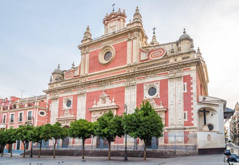 Ansicht an der Kirche von Salavador in Sevilla, Spanien stockbilder