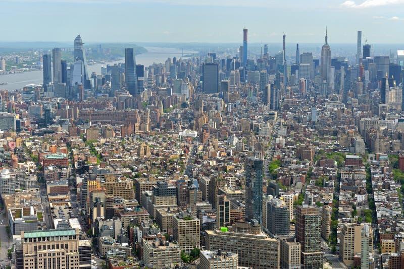 Ansicht der Manhattan-Wolkenkratzer New York City, USA stockfotografie