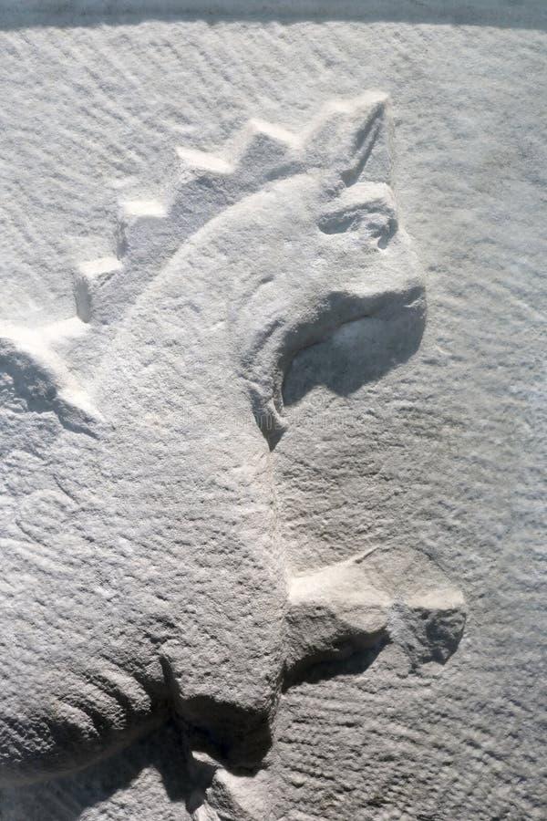 Ansicht der Marmorplatte mit Greif lizenzfreie stockfotografie