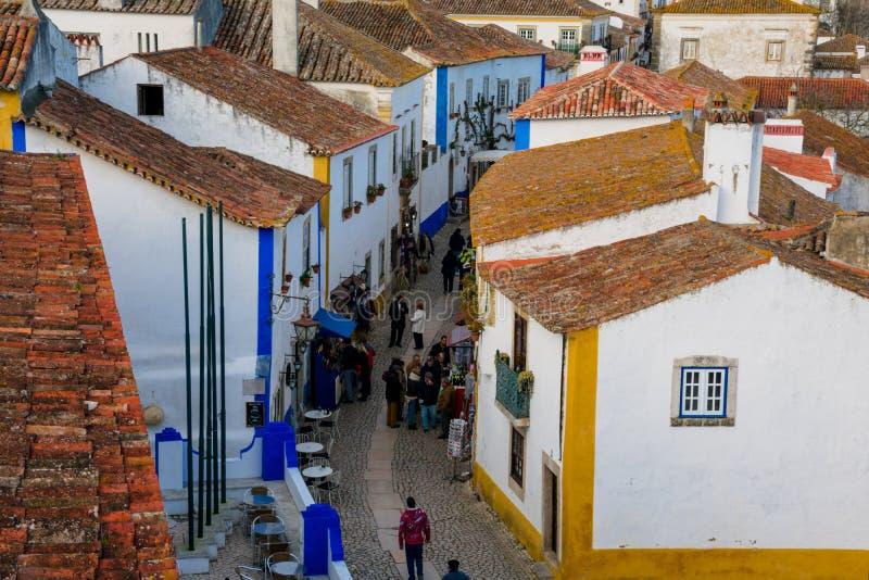 Ansicht der mittelalterlichen Obidos-Stadt lizenzfreie stockbilder