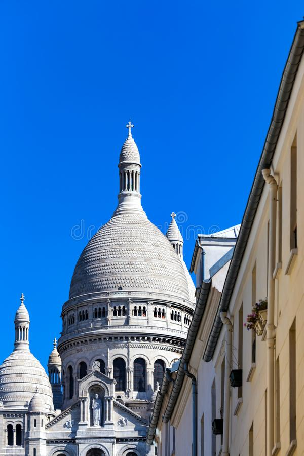 Ansicht der Sacre-Coeurbasilika in Paris, Frankreich stockfotografie