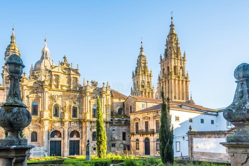 Ansicht an der Santa Catarina-Kapelle an Immaculada-Platz in Santiago de Compostela - Spanien lizenzfreie stockfotos