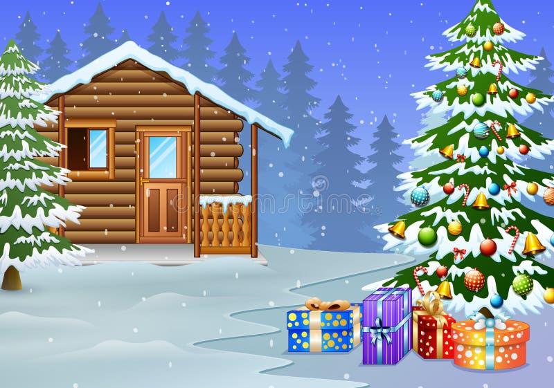 Ansicht der schneebedeckten Holzhaus- und Weihnachtsbaumdekoration mit dem Geschenk vektor abbildung
